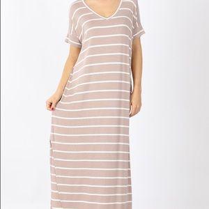 Striped Beige Plus Dress with Pockets